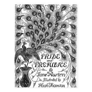 Cubierta clásica del orgullo y del perjuicio con tarjeta postal