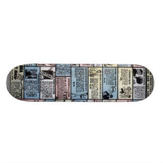 Cubierta cómica vieja del anuncio skateboards