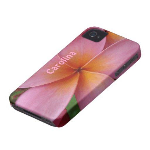 Cubierta conocida de encargo de la flor tropical r iPhone 4 cárcasa