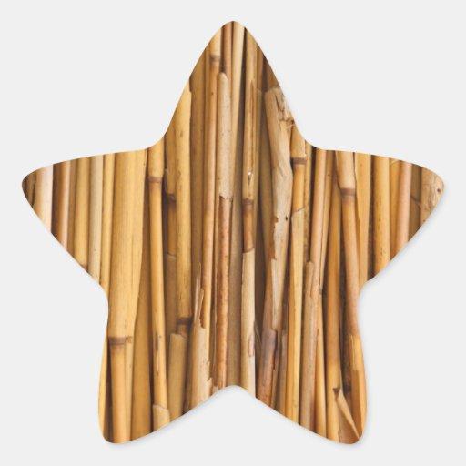 Cubierta de bambú de los palillos colcomanias forma de estrellas