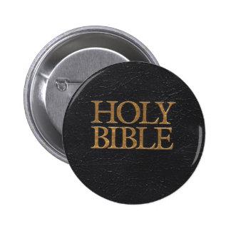 Cubierta de cuero negra de la Sagrada Biblia Pin Redondo De 2 Pulgadas