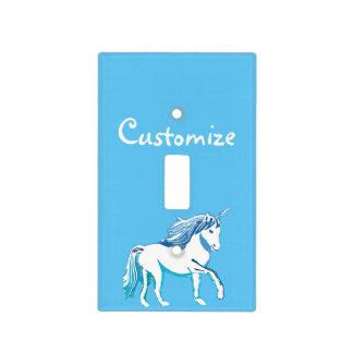 Cubierta de encargo azul y blanca del unicornio de cubierta para interruptor