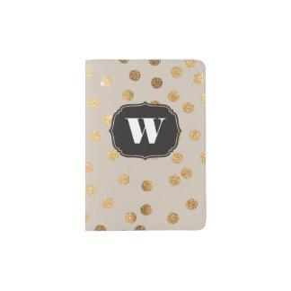 Cubierta de encargo beige del pasaporte del porta pasaporte