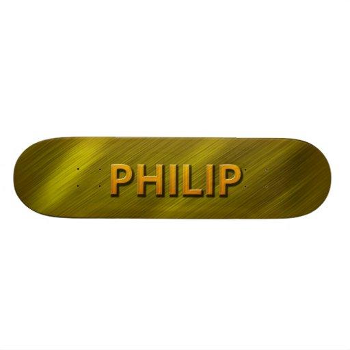 cubierta de encargo del monopatín del oro de Phili