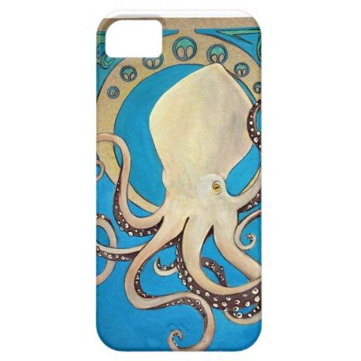 Cubierta de Iphone del pulpo de Nouveau del arte iPhone 5 Case-Mate Cárcasa