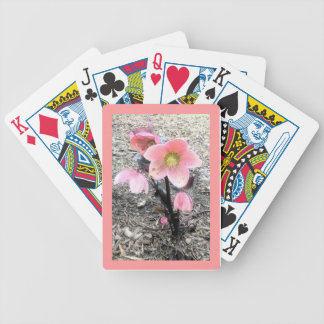 Cubierta de la flor del melocotón de tarjetas cartas de juego
