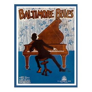 Cubierta de la música de los azules de Baltimore d Tarjetas Postales