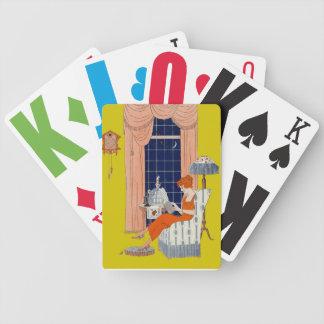 Cubierta de la partitura de la ventana de la silla barajas de cartas
