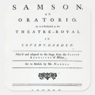 Cubierta de la partitura para Samson Pegatina Cuadrada