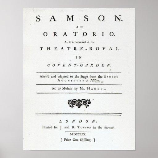 Cubierta de la partitura para Samson Posters