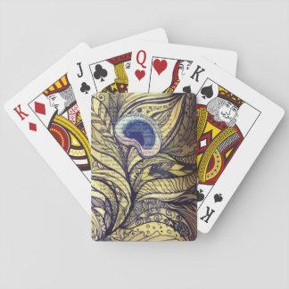 Cubierta de la pluma del pavo real de la acuarela barajas de cartas
