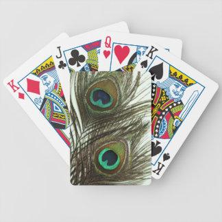 Cubierta de la pluma del pavo real de tarjetas cartas de juego