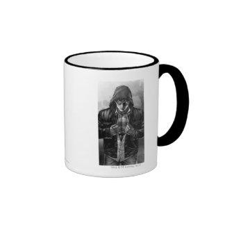Cubierta de la tierra del superhombre - blanco y n taza de café