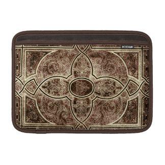 Cubierta de libro de cuero adornada antigua funda macbook air
