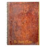 Cubierta de libro de cuero antigua de la mirada libros de apuntes