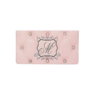 Cubierta de libro de cuero copetuda rosada de funda para chequera
