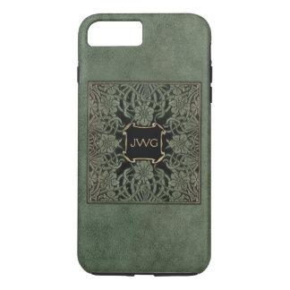 Cubierta de libro de cuero equipada verde antiguo funda iPhone 7 plus