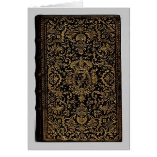 Cubierta de libro de cuero francesa antigua de Dub Felicitacion