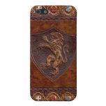 Cubierta de libro de cuero medieval iPhone 5 carcasa