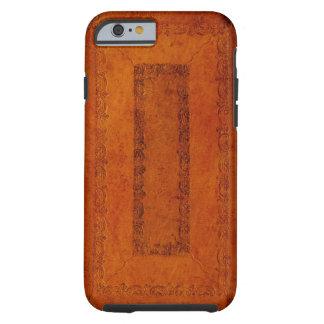 Cubierta de libro del cuero repujado funda de iPhone 6 tough
