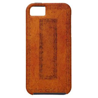 Cubierta de libro del cuero repujado iPhone 5 funda