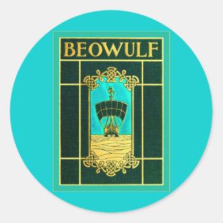 Cubierta de libro del vintage del ~ de Beowulf Pegatinas Redondas
