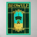 Cubierta de libro del vintage del ~ de Beowulf Póster