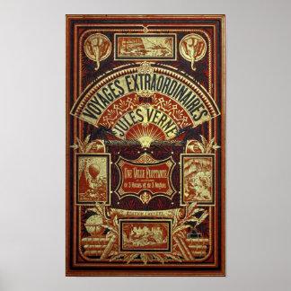 Cubierta de libro viejo de Jules Verne Póster