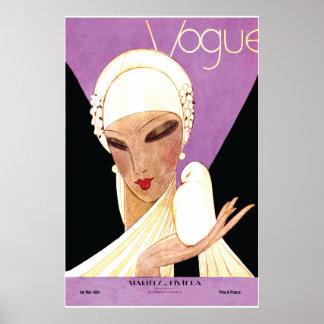 Cubierta de ruborización de Vogue del francés de l Póster