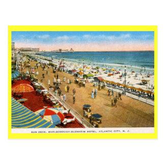 Cubierta de Sun del hotel, vintage de Atlantic Cit Tarjetas Postales