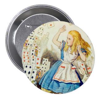 """Cubierta de tarjetas - 3"""" del Alicia-Vuelo botón Pin Redondo De 3 Pulgadas"""