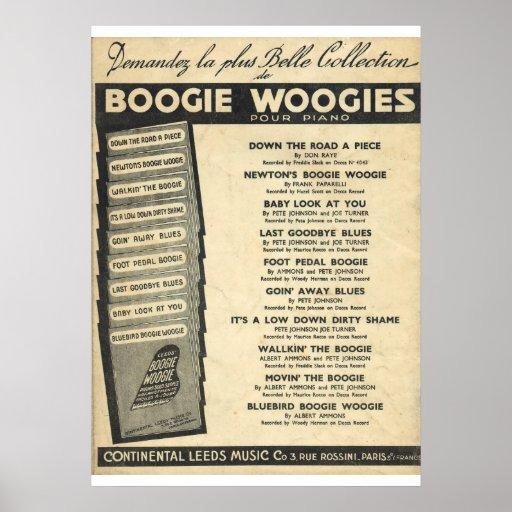Cubierta de Woogie de la boogie de la partitura Póster