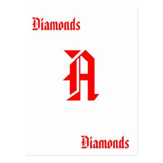 Cubierta del as de tarjetas de diamantes tarjetas postales