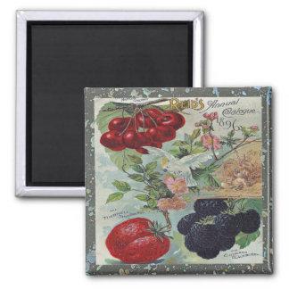 cubierta del catálogo de semilla del vintage imán cuadrado