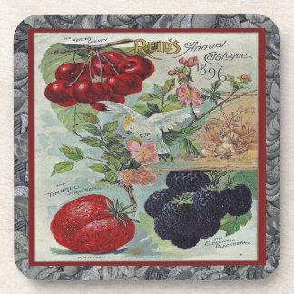 cubierta del catálogo de semilla del vintage posavasos de bebidas