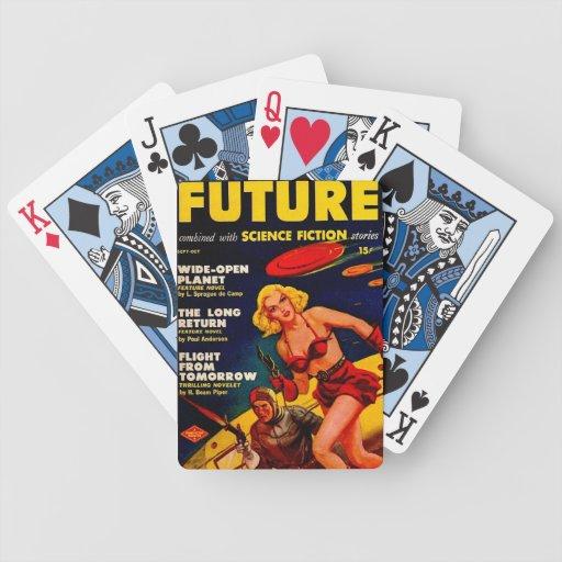 Cubierta del chica del espacio de la ciencia ficci baraja cartas de poker
