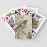 Cubierta del colibrí del vintage… de tarjetas cartas de juego