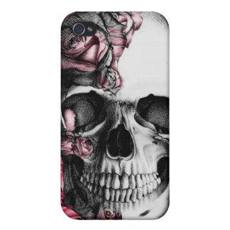 Cubierta del cráneo y del teléfono de los rosas I iPhone 4/4S Fundas