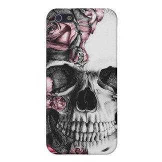 Cubierta del cráneo y del teléfono de los rosas I iPhone 5 Fundas