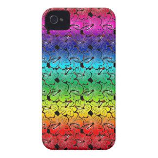 Cubierta del hibisco del arco iris iPhone 4 protectores