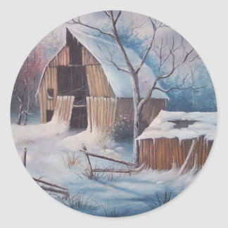 Cubierta del invierno pegatina redonda