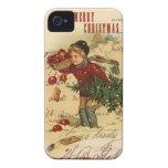 Cubierta del iphone 4 del navidad del vintage Case-Mate iPhone 4 cárcasa
