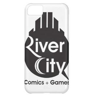 Cubierta del iPhone 5 de la ciudad del río (negro)