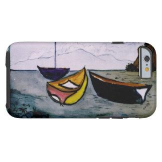 cubierta del iphone con una acuarela de los barcos funda de iPhone 6 tough