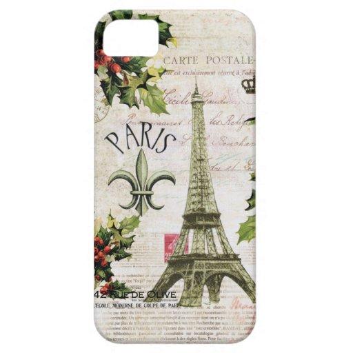 Cubierta del iphone de la torre Eiffel del navidad iPhone 5 Protector
