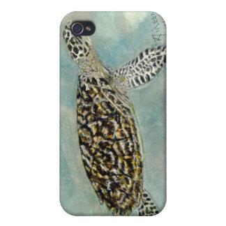 Cubierta del iPhone de la tortuga de mar de Hawksb iPhone 4 Protectores