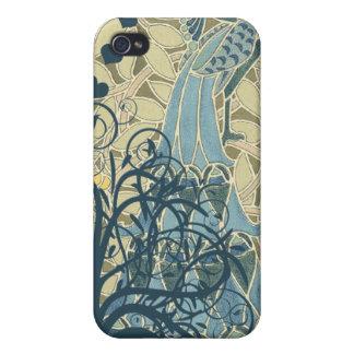 Cubierta del iPhone de Nouveau del arte del pavo r iPhone 4 Fundas