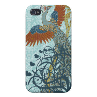 Cubierta del iPhone de Nouveau del arte del pavo r iPhone 4 Funda