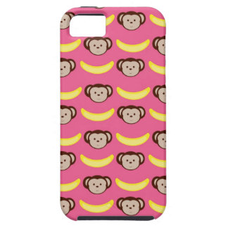 Cubierta del iPhone rosado del mono y del plátano/ iPhone 5 Case-Mate Carcasa
