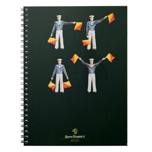 Cubierta del menú a bordo del QE2 (litho del color Spiral Notebooks
